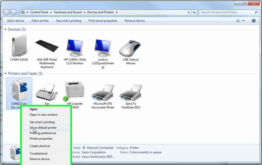 Connect to CM Printer – Windows 7