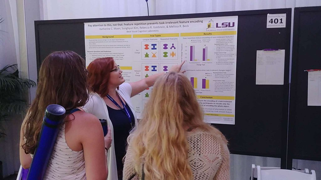 Katherine Moen, a doctoral student in Melissa Beck's laboratory, presented a poster at Vision Sciences Society.