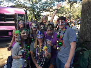 Picture of people at mardi gras parade