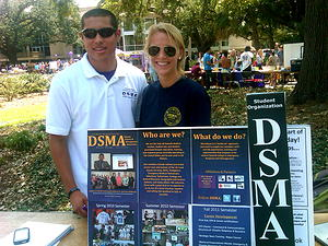 Former DSMA presidents Osmar Padilla and Christina Touzet at the Student Organization Fair